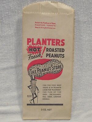 Vintage 1950's Planters Peanut Mr Peanut Paper 3 oz. Roasted Peanuts Bag