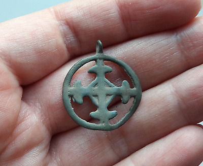 Ancient Pendant Bronze Viking Suspension Cross in a circle Kievan Rus