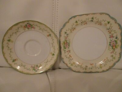 Noritake Square Side Plate 16cm Floral & Round Saucer 14cm diameter