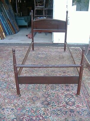 Art Nouveau Single Metal Poster Bed Vintage Antique Mahogany Painted