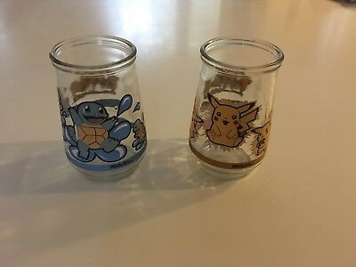 Welch's Jelly Glass Pokemon #25 Pikachu #07 Squirtle Vintage 1990s