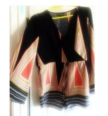 Bell Sleeve Black Aztec Playsuit Size 10