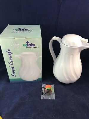 UPDATE INTERNATIONAL SWIRL WHITE THERMAL COFFEE SERVER CARAFE 42 oz PUSH BUTTON