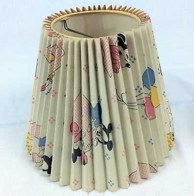 Vintage Disney Lamp Shade Nursery Mickey Minnie Pluto Balloons Pleated