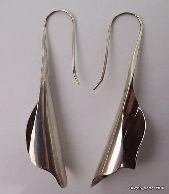 N.A. Sterling Silver Modernist Long Dangle Earrings Signed CG or CEG - 2 5/8""