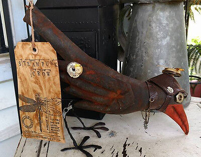 Steampunk Crow Gears Propeller Handmade Decoration Handpainted Primitive