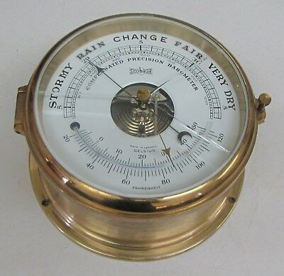 Vintage Stockburger COMPENSATED PRECISION BAROMETER THERMOMETER - Brass GERMANY