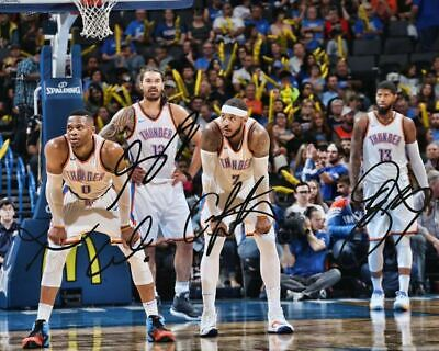 Russell Westbrook Paul George Carmelo Anthony OKC Signed Photo Autograph Reprint