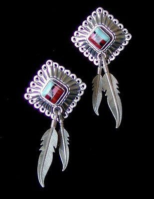"INTRICATELY INLAID STERLING SILVER TWO FEATHERS EARRINGS by ""Q.T."" NEW OLD STOCK"