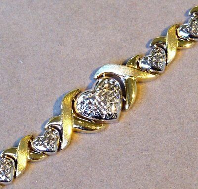 """10K YELLOW GOLD and STERLING SILVER HEART and """"X"""" LINK BRACELET 7 1/2"""" lg -  NOS"""