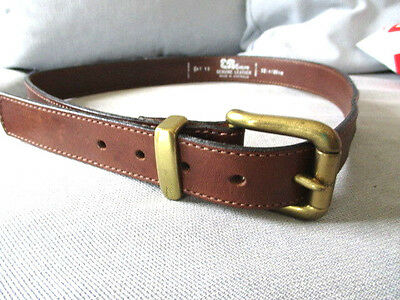 EB Evelyn 80's Men's Brown leather belt gold tone buckle 32inch/80cm Aust Made