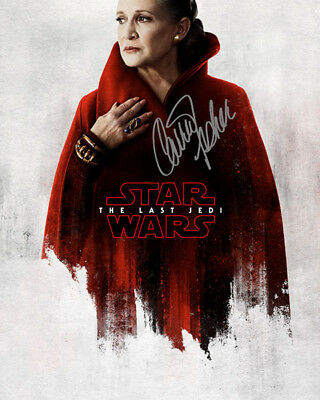 Carrie Fisher Leia Organa Star Wars the Last Jedi Signed Photo Autograph Reprint