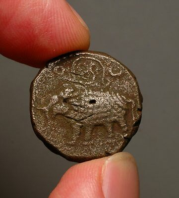 I15-23    Mysore 20 Cash, ND (1811 - 1833 AD)  Caparisoned Elephant