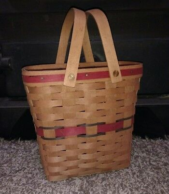 Longaberger 1991 All American Tall Key Basket Two Quart Red Blue