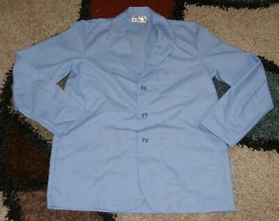 "Best Medical Woman Doctor Staff Lab Coat 3 pocket Lt Blue 30"" Length Size 6X (64"