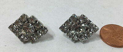 "Gr8tEstates Lovely Vintage Sparkling Rhinestone Shoe Clips Wedding Formal  1""W"