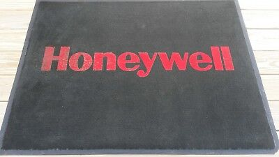 Vintage HONEYWELL Floor Rug 48 Inch by 36 Inch Black with Red Letters Color
