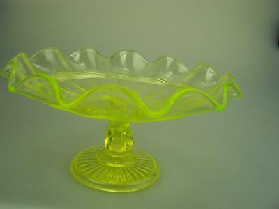 Crown Crystal Australia Citrine glass tazza comport compote uranium glows