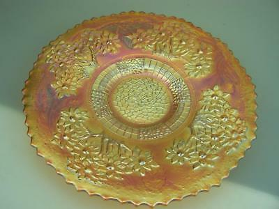 "Fenton ""Orange tree"" vintage marigold carnival glass plate very flat good colour"