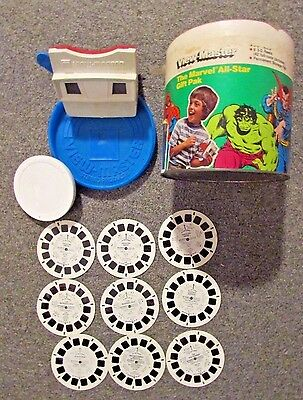 Vintage View-Master Marvel All-Star Gift Pak Comic + Traveling Smurfs Viewmaster