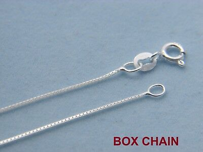 925 Solid Sterling Silver 0.8mm Thin BOX Chain Necklace for Pendants Italian