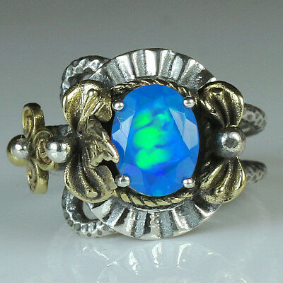 28CT Natural 925 Silver Oval Ethiopian Light Blue Opal Vintage Ring MCQB48