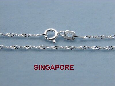 925 Solid Sterling Silver 1.2 Singapore Chain Necklace for Pendants Italian