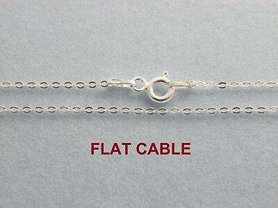 925 Solid Sterling Silver 1.2mm Flat CABLE Chain Necklace for Pendants Italian