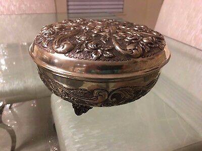 Vintage antique large heavy 800 silver repousse bowl with gold wash 677 grams