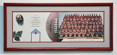 RARE 1988 49ers FOOTBALL TEAM CHRISTMAS CARD ~ PROFESSIONALLY FRAMED & MATTED