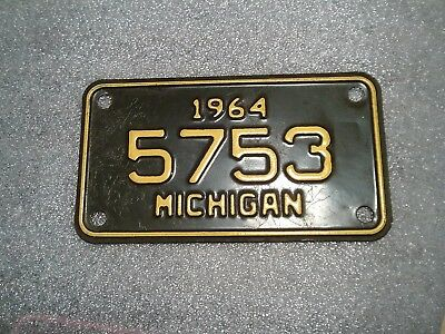 1964 Michigan Motorcycle License Plate Tag All Original