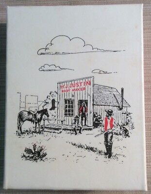 Vintage Miniature  Justin Cowboy Boot Box ,And Leather Boot Keychain