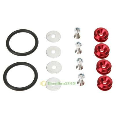JDM Quick Release Fasteners For Car Front Bumper Trunk Fender Hatch Lids Kit Red