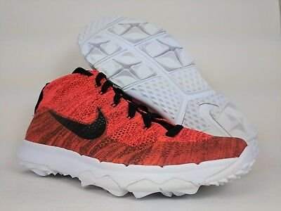 Nike Flyknit Chukka Spikeless Golf Shoes Red Black White Sz 10 (819009-800)