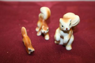 Vintage Miniature Bone China Squirrel Family of 3 Figurines Matte Finish