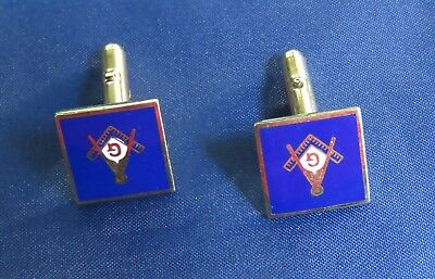 Pair of Vintage Masonic Blue Enamel and Gold Tone Cuff Links