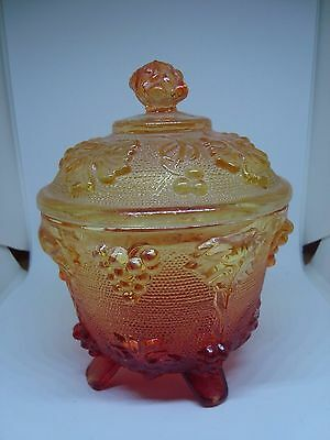 VINTAGE Carnival Glass Marigold/Amber Candy Dish! GORGEOUS!