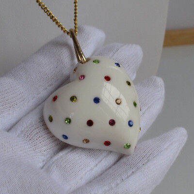 XL White Resin Plastic encrusted color rhinestones Puffy Heart pendant necklace