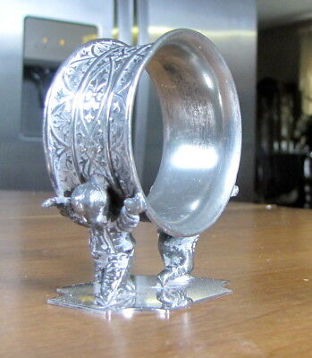 Antique Silverplate Figural Decorated Napkin Holder Ring