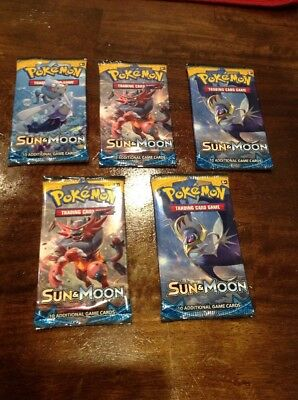 Pokemon Sun and Moon Booster Packs - New Sealed TCG Card Game - 5 booster packs