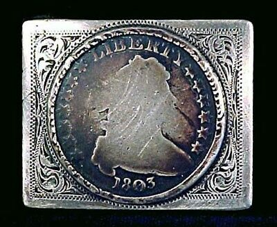 A vintage Newman's engraved silver belt buckle w/original US 1803 SILVER DOLLAR!