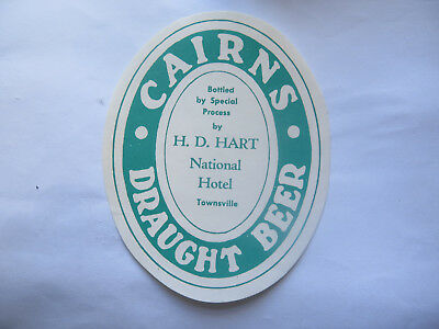NATIONAL HOTEL TOWNSVILLE CAIRNS DRAUGHT BEER LABEL 1950s QLD Bottld by H D HART
