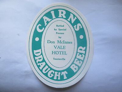 VALE HOTEL TOWNSVILLE CAIRNS DRAUGHT BEER LABEL 1950s QLD Bottled by DON McINNES
