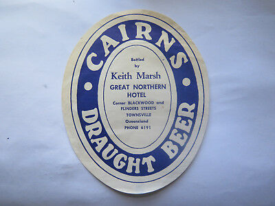 GREAT NORHTERN HOTEL TOWNSVILLE CAIRNS DRAUGHT BEER LABEL 1950s QLD KEITH MARSH