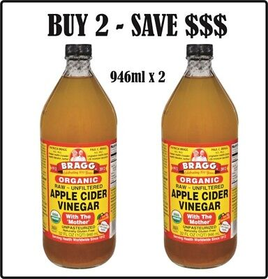 Bragg Apple Cider Vinegar 946ml x 2  with Mother  & FREE SHIPPING with Tracking!