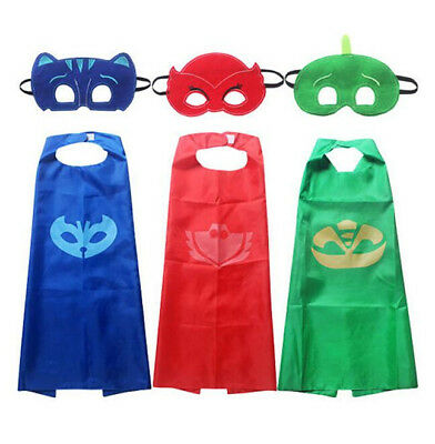 Boys Kids Superhero PJ Masks Cape Mask Set Owlette Catboy Cosplay Costume Party