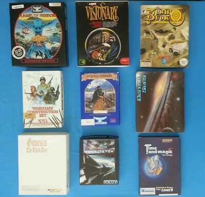 Commodore Amiga games boxes. NO DISKS. Otherwise complete. Good condition.