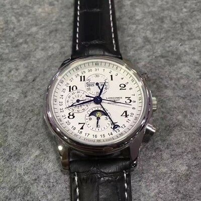 Preowned w/o Box Authentic Longines Men's White Dial Leather Strap Classic Watch