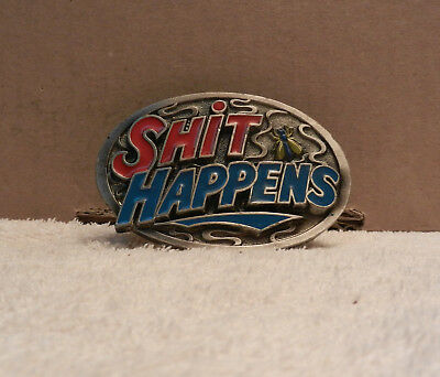 SH!T HAPPENS Belt Buckle USA 1989 VINTAGE (blue)