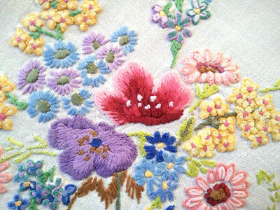 Exquisite Flower Vase Bouquets ~ Vintage Raised Hand Embroidered Tablecloth